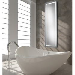 Long LED mirror with ambient lighting side lights