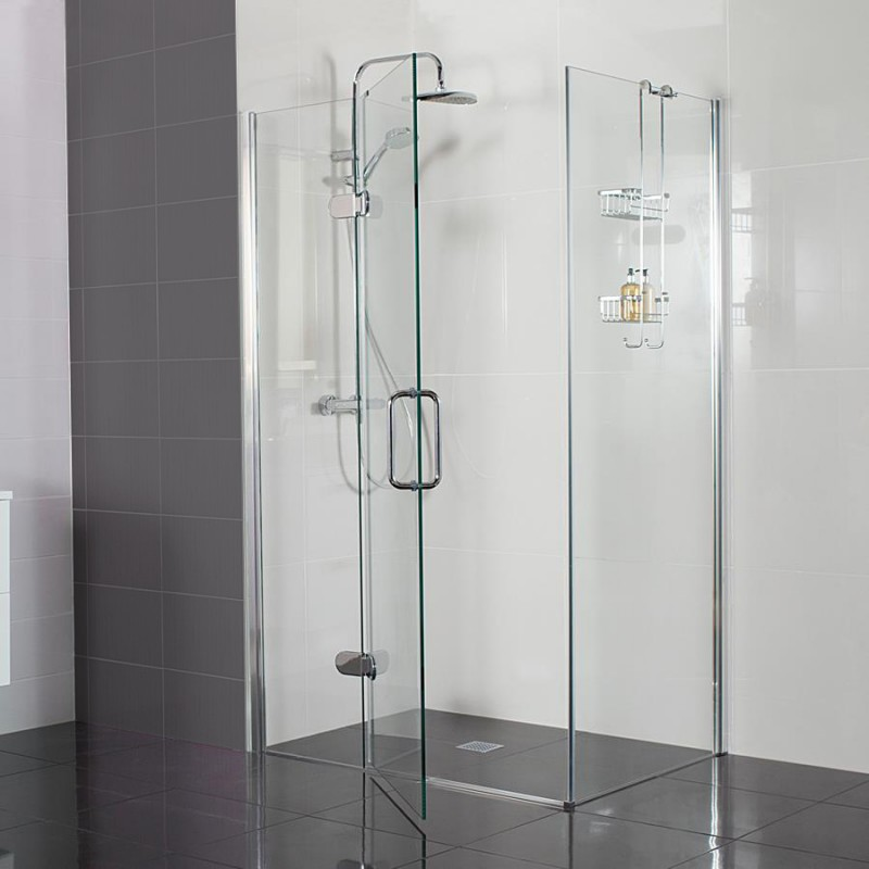 10mm Hinged Door with Hinged Inline Panel - STONEWOOD