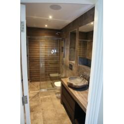 Roc Mud Tiled Bathroom with Bespoke Vanity