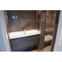 Soft Melt Tiled Small Steam Room with Grey Elements Drawer Vanity