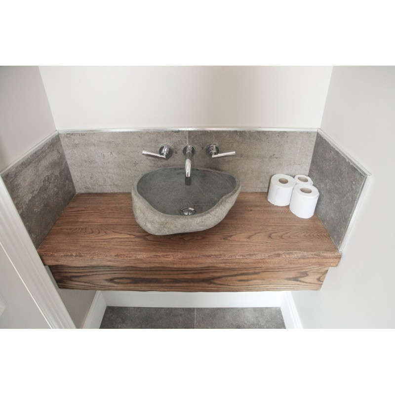 Small Cloakroom With Bespoke Oak Floating Sink Shelf Stonewood