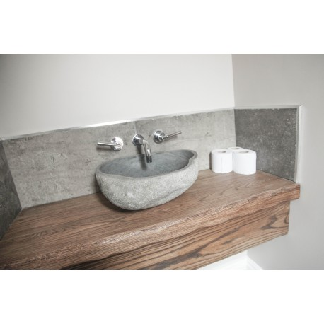 Small Cloakroom with Bespoke Oak Floating Sink shelf - STONEWOOD