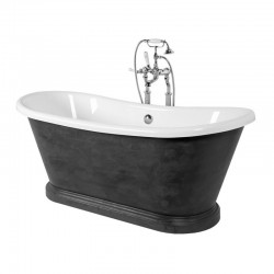 Arley Charcoal Waxed Double Acrylic 170x75cm Free Standing bath
