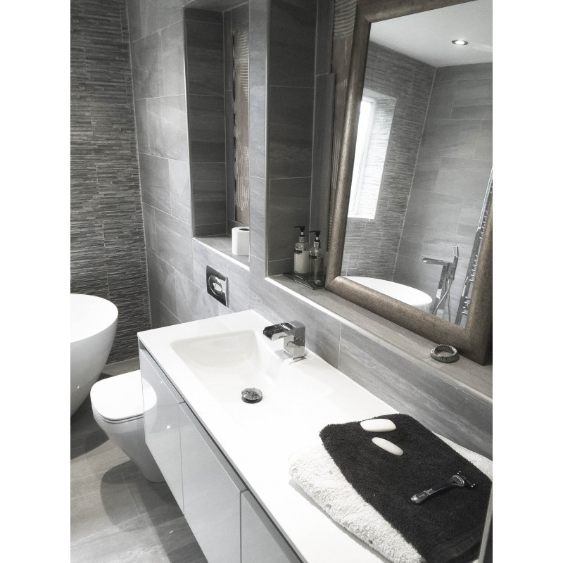 Strata Grey Tiled Bathroom - STONEWOOD