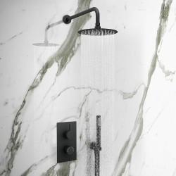 Stonewood Round Modern Two outlet Shower Kit - Matt Black