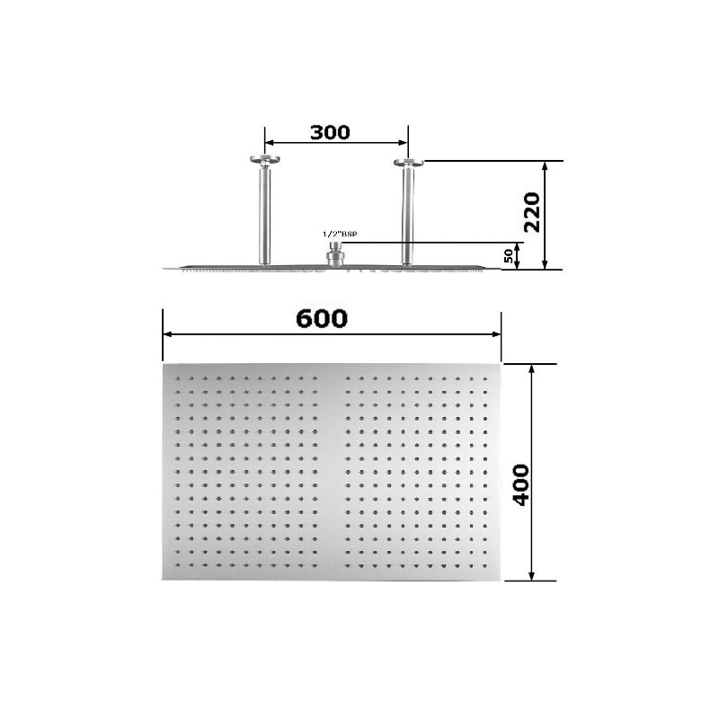 Rectangular 600x400 Fixed Shower Head - STONEWOOD
