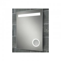 Back-lit mirror with integrated 3x magnifying mirror