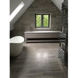 Bathroom under construction showing our Bespoke sized Henbury Vanity