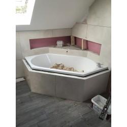 Bespoke Vanity With Natural Stone Tiles