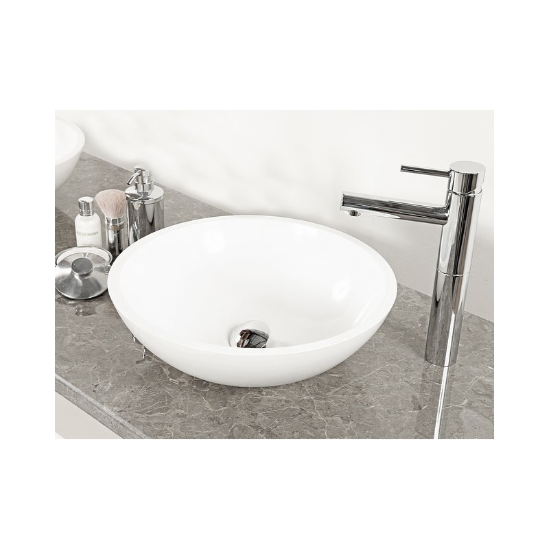 Madison White Round Cast Stone Basin (width 420mm height 140mm) £225