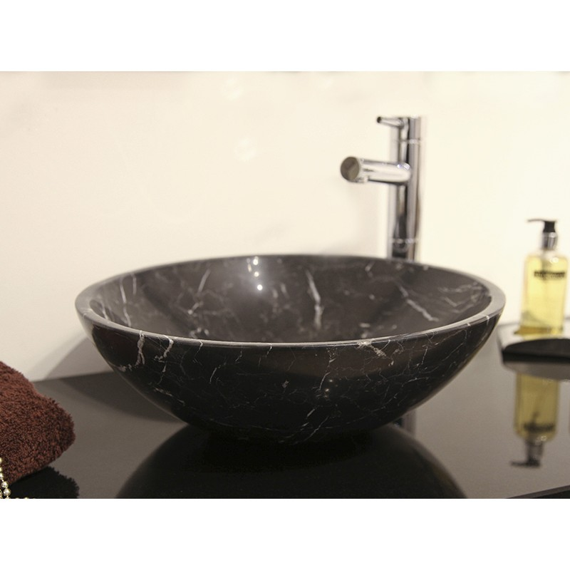 Style 5 Hand Crafted Nero Marquina Marble Bowl(width 420mm height 150mm) £295each
