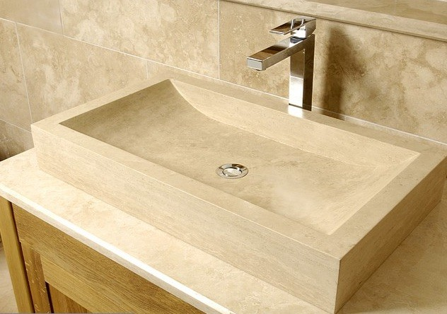 Style 9 Hand Crafted Natural Beige Stone Rectangular Basin(width 70cm depth 40cm Height 10cm)£385