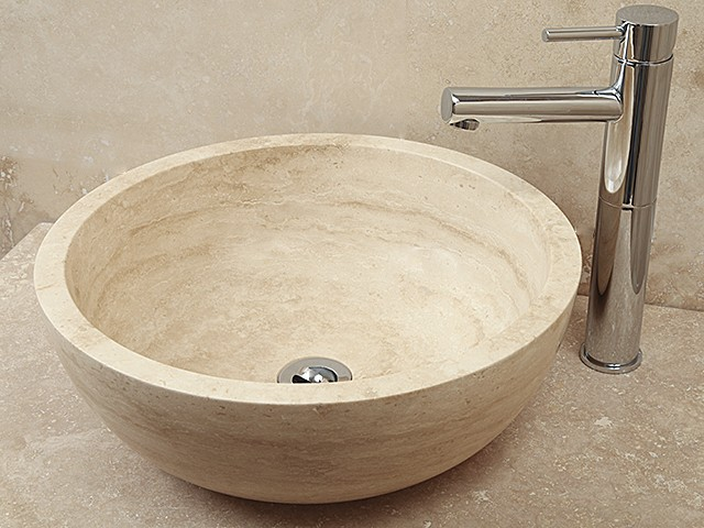 2xStyle 5 Hand Crafted Natural Beige Stone Bowl(width 420mm height 150mm)£245each